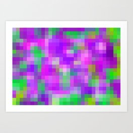 purple and green pixel abstract Art Print