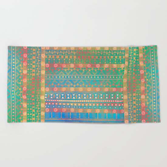 Inspired Aztec Pattern 2 Beach Towel