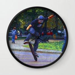 Flipping The Deck  -  Skateboarder Wall Clock