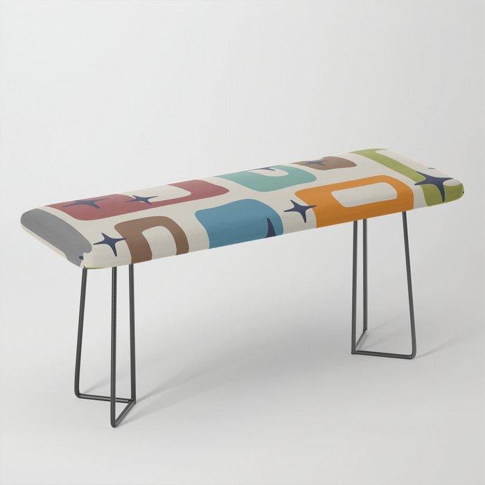 Retro Mid Century Modern Abstract Pattern 224 Bench