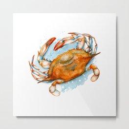Watercolor Soft shell crab Metal Print