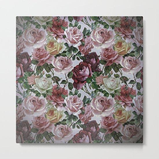 Vintage & Shabby-chic - retro floral roses pattern Metal Print