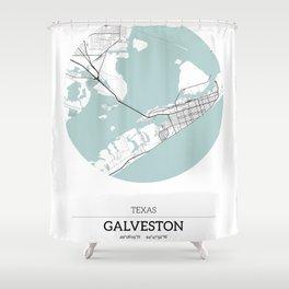 Galveston, Texas City Map with GPS Coordinates Shower Curtain