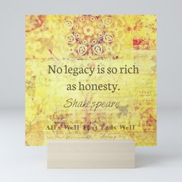 Shakespeare honesty quote Mini Art Print