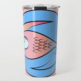 Fish in water stylized logo Travel Mug