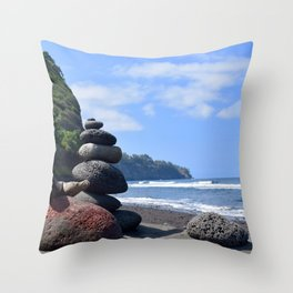 Pololu Valley Hawaii Big Island Throw Pillow