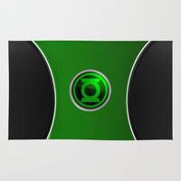 green lantern Area & Throw Rugs featuring Green Lantern by Thorin