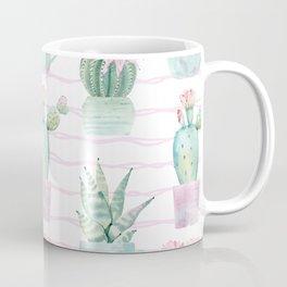 Cute Potted Cacti Stripe Pattern Coffee Mug