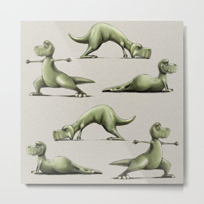 Yogasaurs (Sand) Metal Print