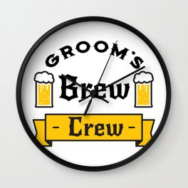 Groom Funny Groom's Brew Crew Wall Clock