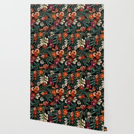 Marijuana and Floral Pattern Wallpaper