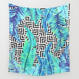 turquoise tropical leaves Wall Tapestry