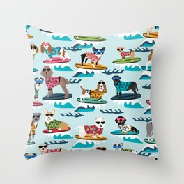 Surfing Dogs - cute summer tropical dogs surfing Throw Pillow