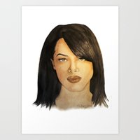 aaliyah Art Prints featuring Aaliyah by Nina Bryant Studio