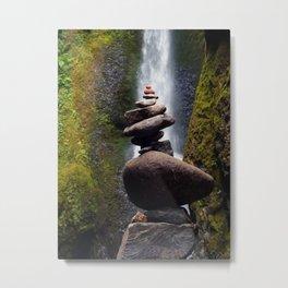 Stone Carin, Oneonta Falls, Oneonta Gorge, Oregon Metal Print