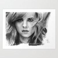 emma watson Art Prints featuring Emma Watson by xDontStopMeNow