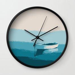 Blue boat blue sea wall art print Wall Clock