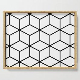 Black and White - Geometric Cube Design I Serving Tray