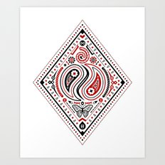 83 Drops - Diamonds (Red & Black) Art Print
