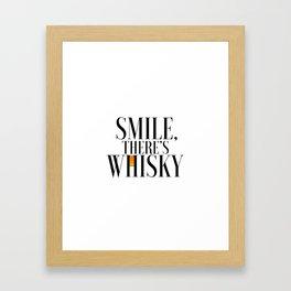 Happy Poster Whiskey Bar Decor Whiskey Poster Whiskey Art Whiskey Cocktail Smile there's Whiskey Framed Art Print