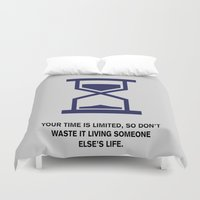 steve jobs Duvet Covers featuring Lab No. 4 - Time Is Limited Steve Jobs Famous Life Inspiring Motivational Quotes Poster by Lab No. 4