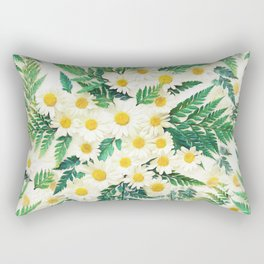 Textured Vintage Daisy and Fern Pattern  Rectangular Pillow