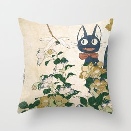 Jiji from Kiki's delivery service vintage japanese mashup Throw Pillow