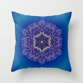 Temptation - Mandala 1 on Blue Backgound  Throw Pillow
