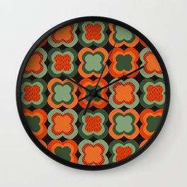 Retro Color Flower Pattern Wall Clock
