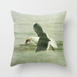 Seagull and Crab Throw Pillow