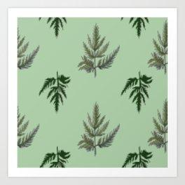 stylized Botanical pattern of green leaves of parsley Art Print