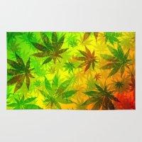 marijuana Area & Throw Rugs featuring Marijuana Leaves Rasta Colors by BluedarkArt