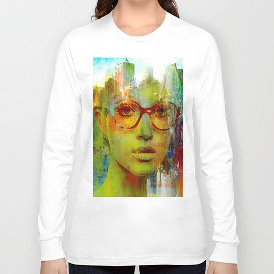red glasses girl Long Sleeve T-shirt