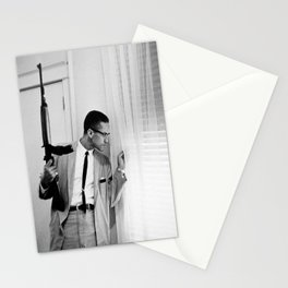 Malcolm X Wall Art, Civil Rights Poster, Black Militant Portrait, BW Colorized Wrapped Canvas Print Stationery Cards