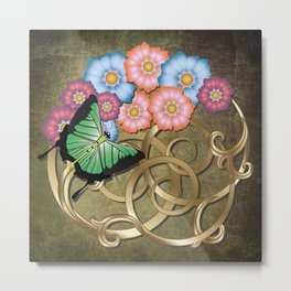 Butterfly and flowers on gold scrollwork Metal Print
