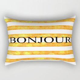 Bonjour Orange Stripe Bokeh Rectangular Pillow