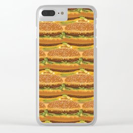 Delicious Burger Pattern Clear iPhone Case