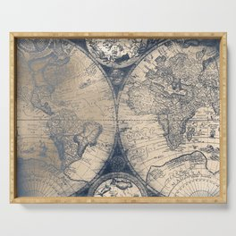Antique World Map White Gold Navy Blue by Nature Magick Serving Tray