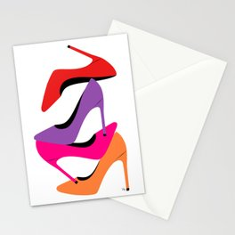Colorful high heel shoes graphic illustration Stationery Cards