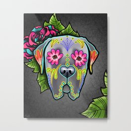 Mastiff in Grey - Day of the Dead Sugar Skull Dog Metal Print