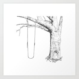 tree and swing, drawing black and white Art Print