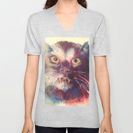 Vampire Cat, Watercolor Painting, Fang Kitty Unisex V-Neck