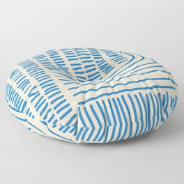 Digital Stitches thick beige + blue Floor Pillow