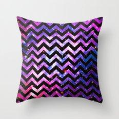 Girly Chevron Pattern Cute Pink Teal Nebula Galaxy Throw Pillow