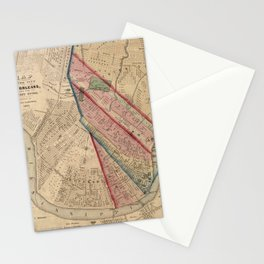 Vintage Map of New Orleans LA (1861) Stationery Cards