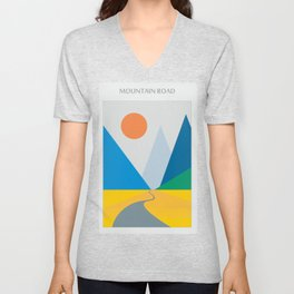 Road dwindling upon the mountains vintage artwork Unisex V-Neck