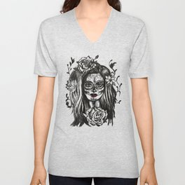 Day of Dead Girl Sugar Skull Girl Unisex V-Neck