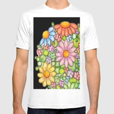 Colorful Orb on Black Mens Fitted Tee White MEDIUM