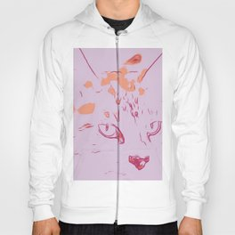 Soft Rose Abstract Cat Hoody