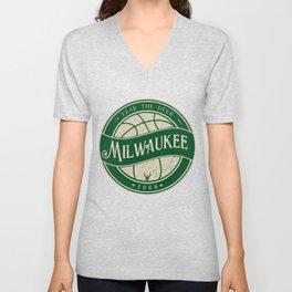 Milwaukee basketball green vintage logo Unisex V-Neck